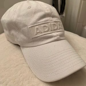 All white adidas hat